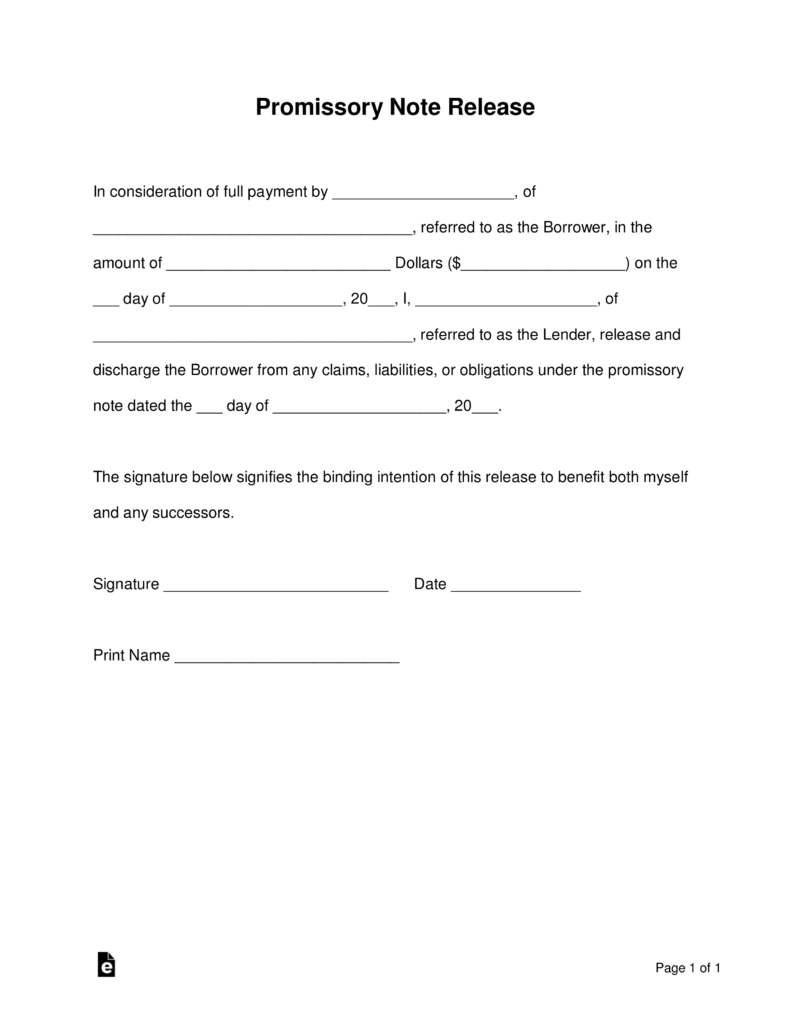 Free Promissory Note (Loan) Release Form - Word | PDF | eForms ...