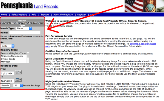 pennsylvania-land-records-search-page
