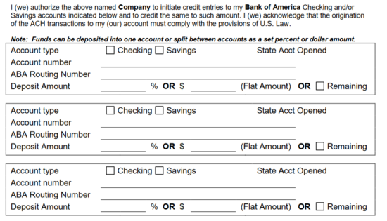 free bank of america direct deposit form