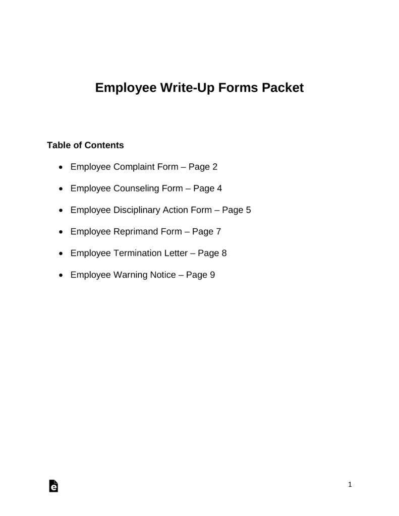 Employee Write-Up Forms | eForms – Free Fillable Forms