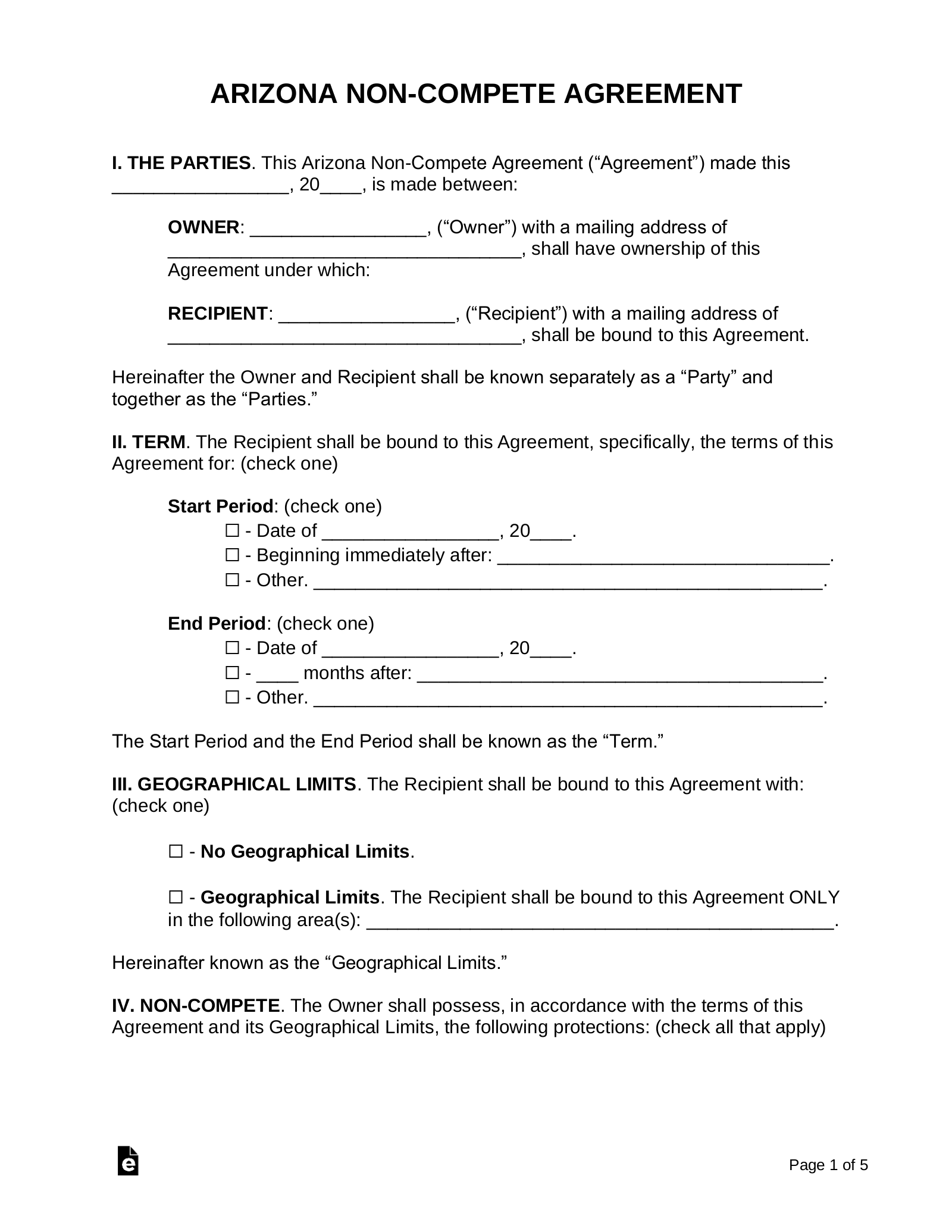 Arizona Non Compete Agreement Template Eforms Free