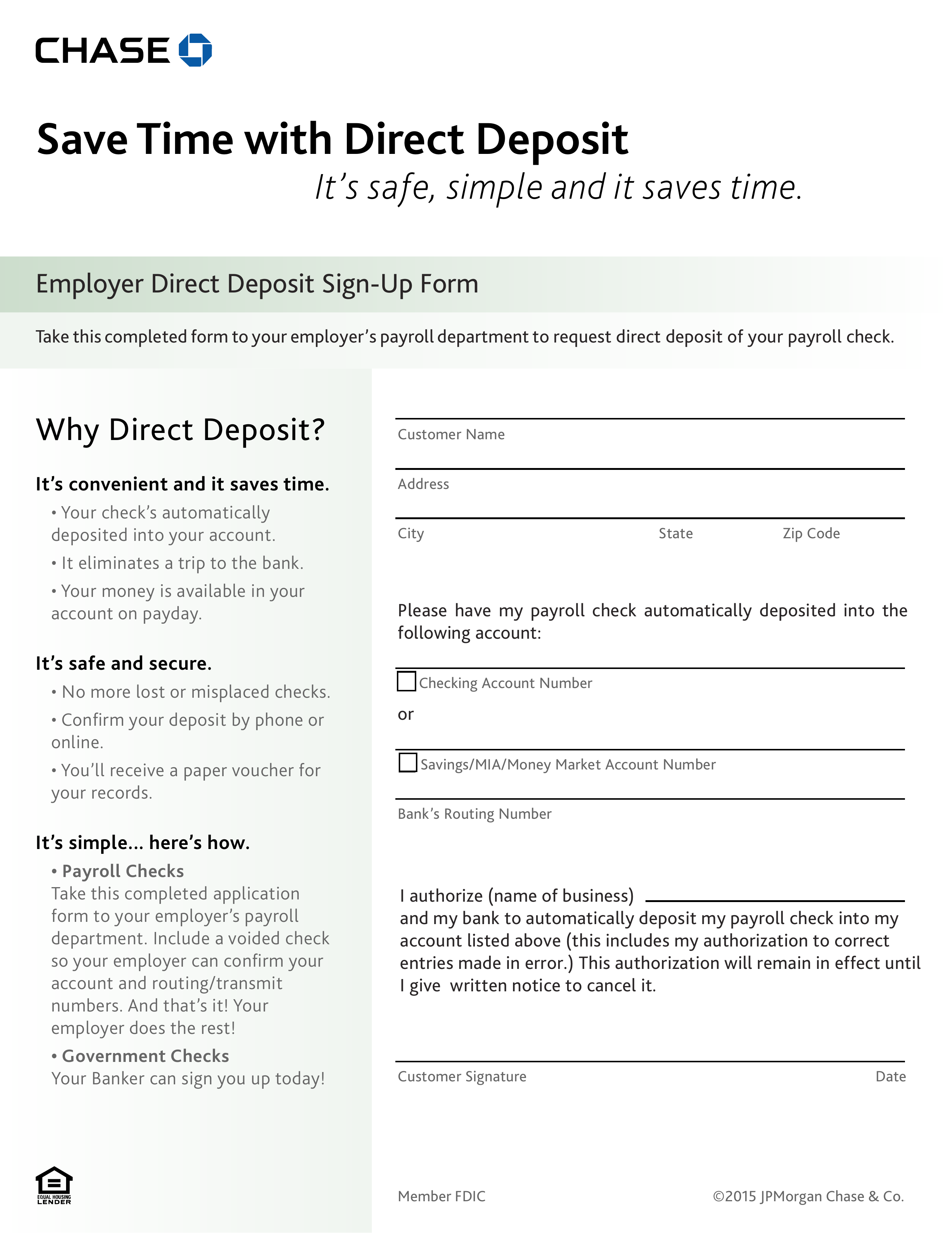 Free Chase Bank Direct Deposit Form - PDF | eForms – Free ... on