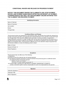 Conditional Contractor's (Mechanic's) Lien Release Form