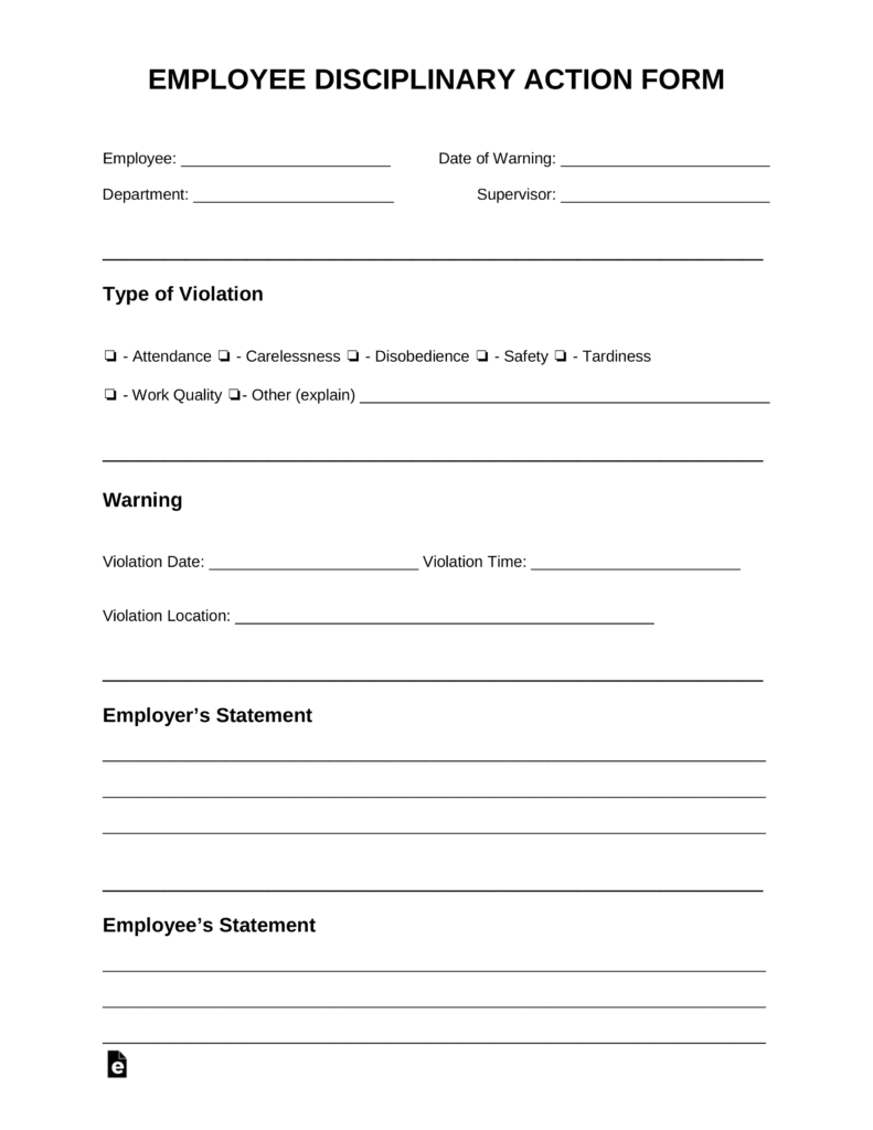 Free Employee Disciplinary Action Discipline Form PDF – Disciplinary Action Form