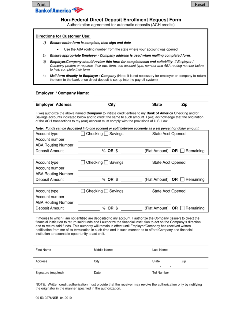 Free Bank Of America Direct Deposit Form   PDF | EForms U2013 Free Fillable  Forms