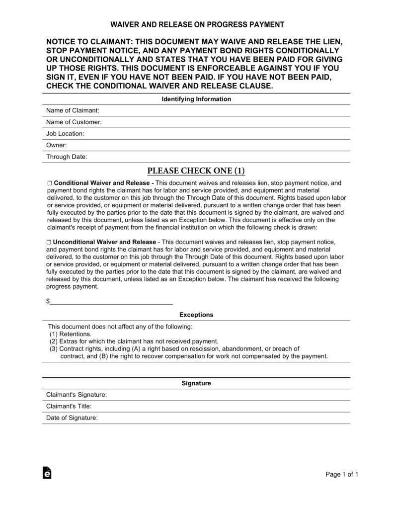 Contractor's (Mechanic's) Lien Release Form | eForms – Free ...