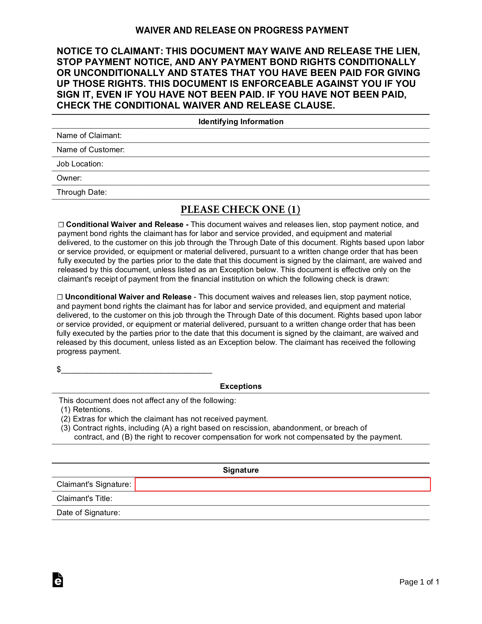 Free Real Estate Lien Release Forms - PDF | eForms – Free