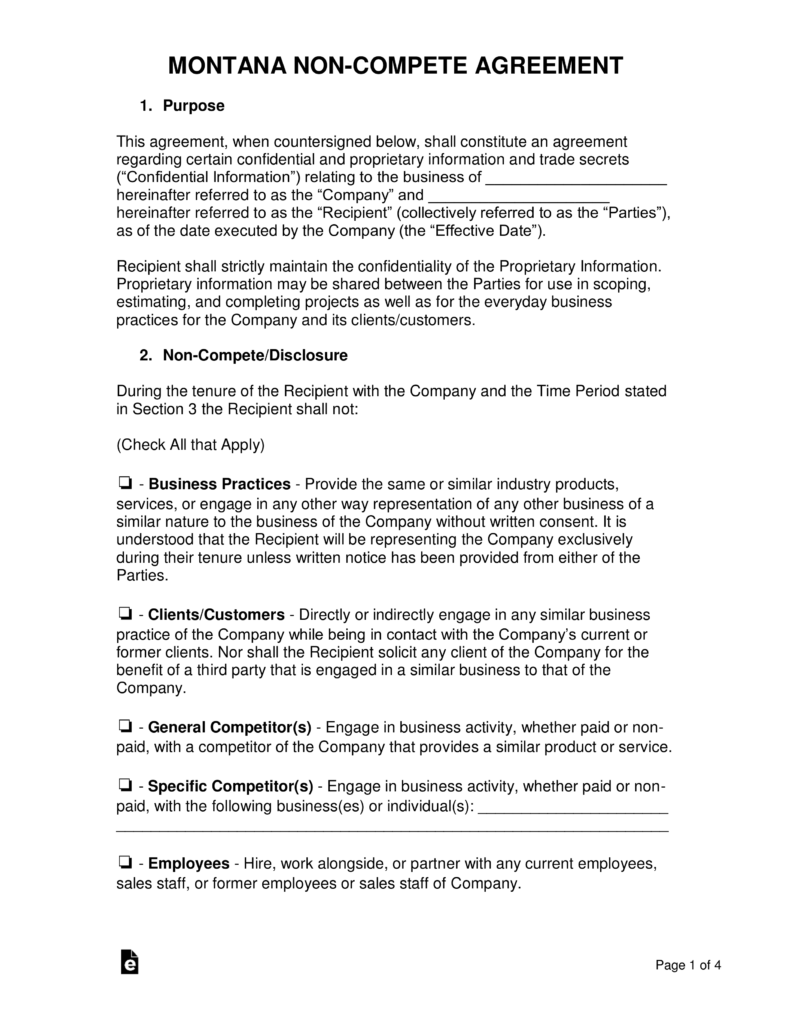 Montana Non Compete Agreement Template Eforms Free Fillable Forms