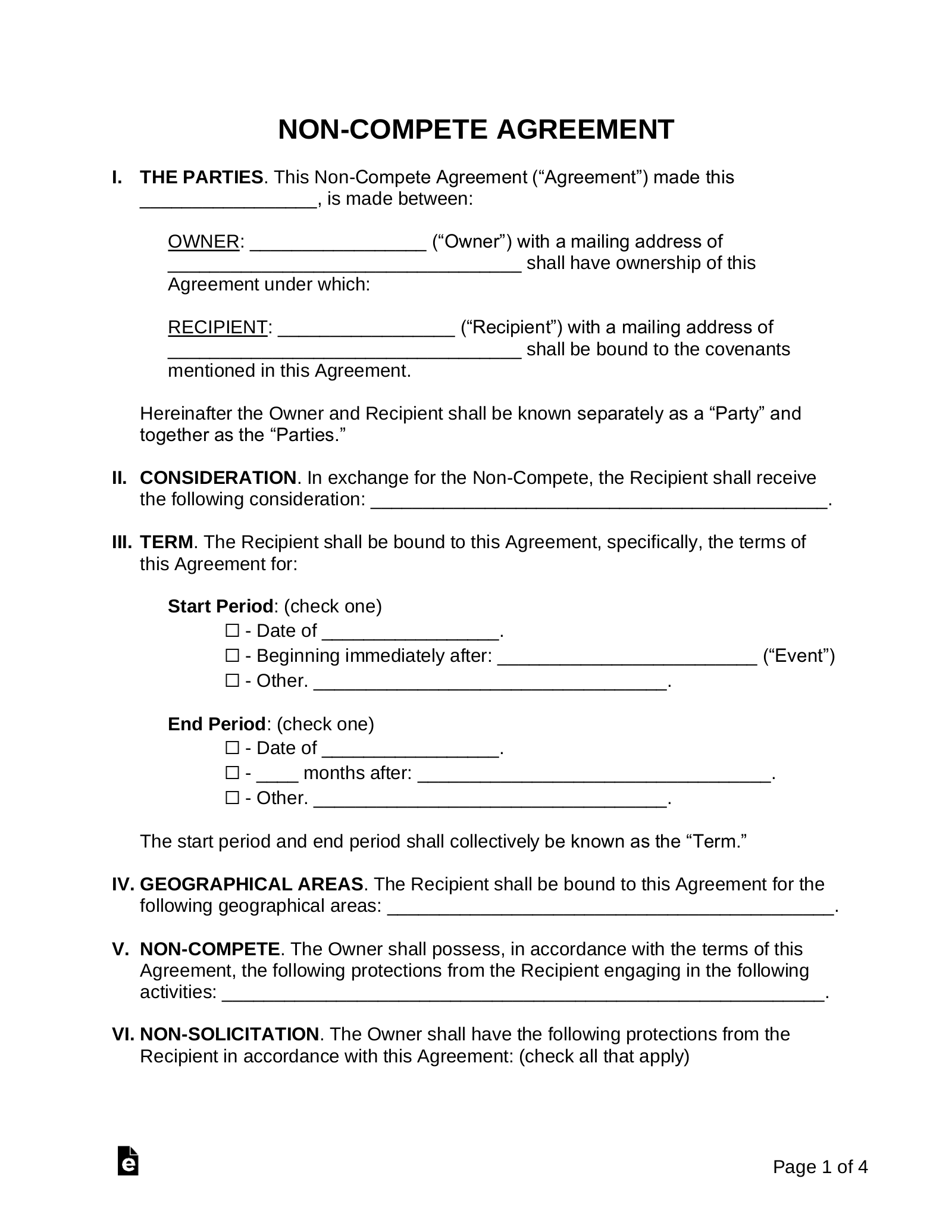Non Compete Agreement Templates Eforms Free Fillable Forms