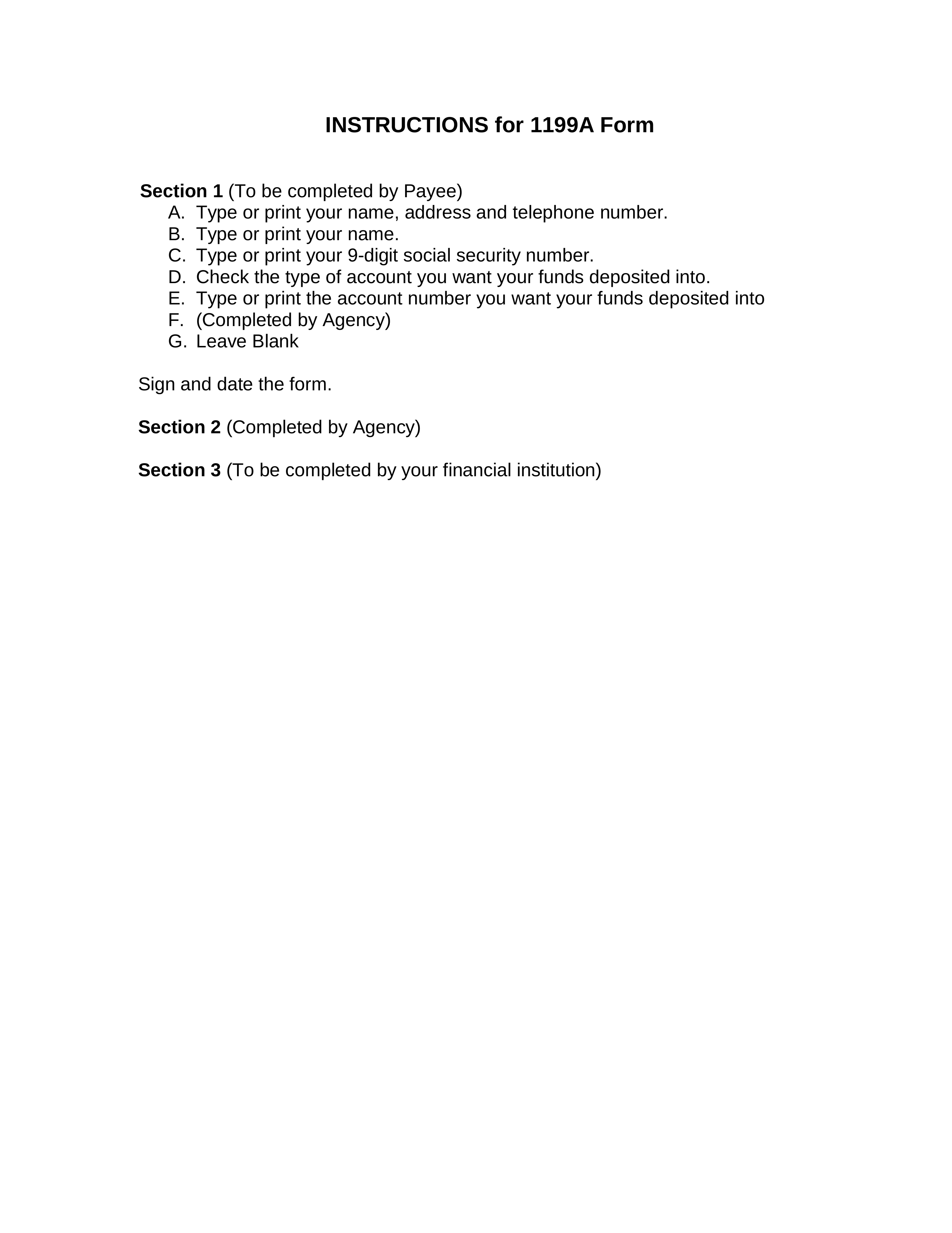 photograph regarding Printable Direct Deposit Form titled Cost-free Social Stability Lead Deposit Sort (1199A) - PDF