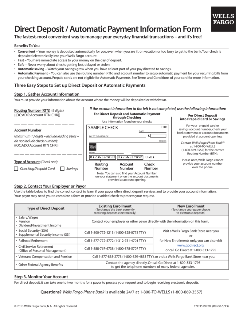 Free Wells Fargo Direct Deposit Form - PDF | eForms – Free Fillable
