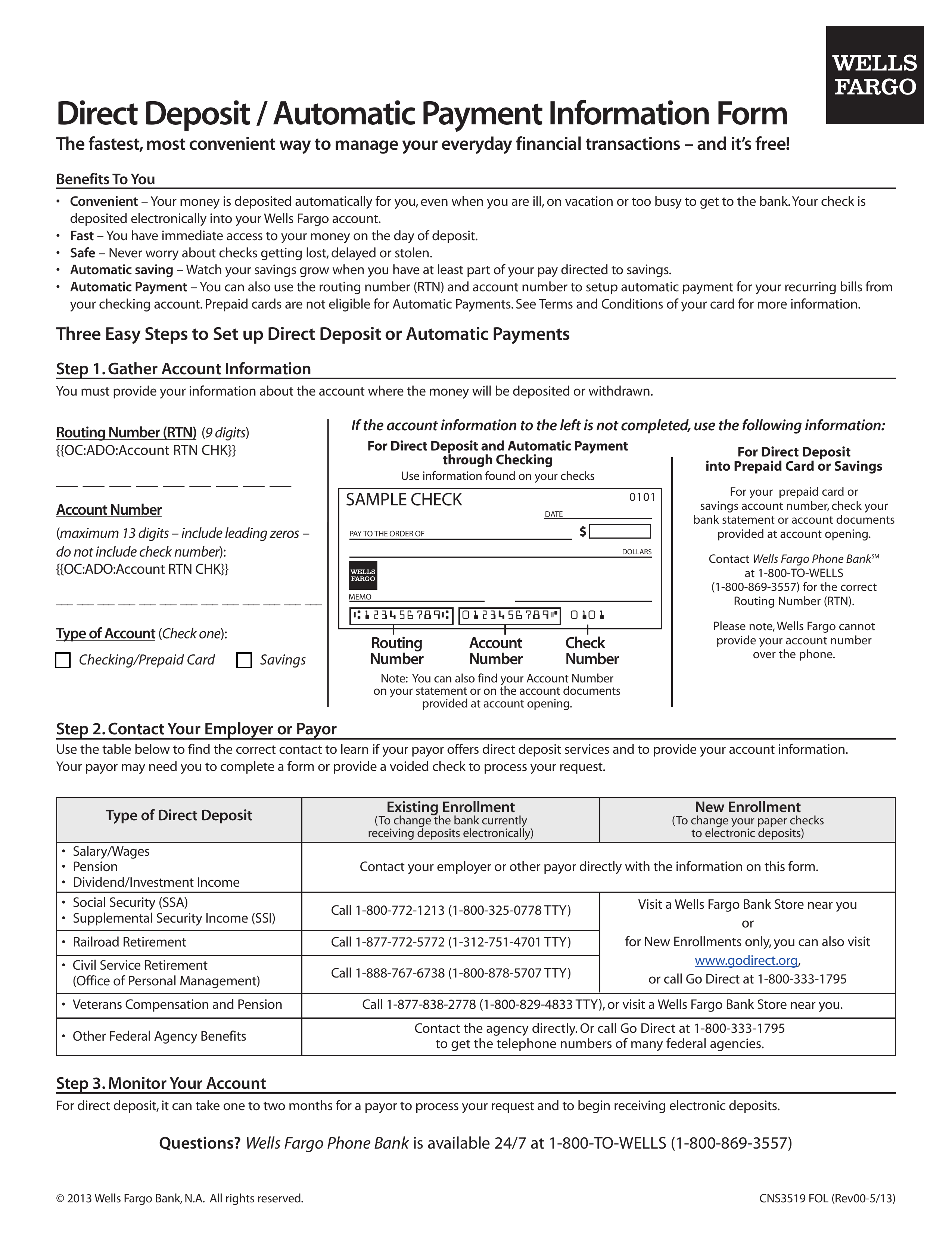 graphic regarding Wells Fargo Deposit Slip Printable known as Free of charge Wells Fargo Guide Deposit Type - PDF eForms Absolutely free