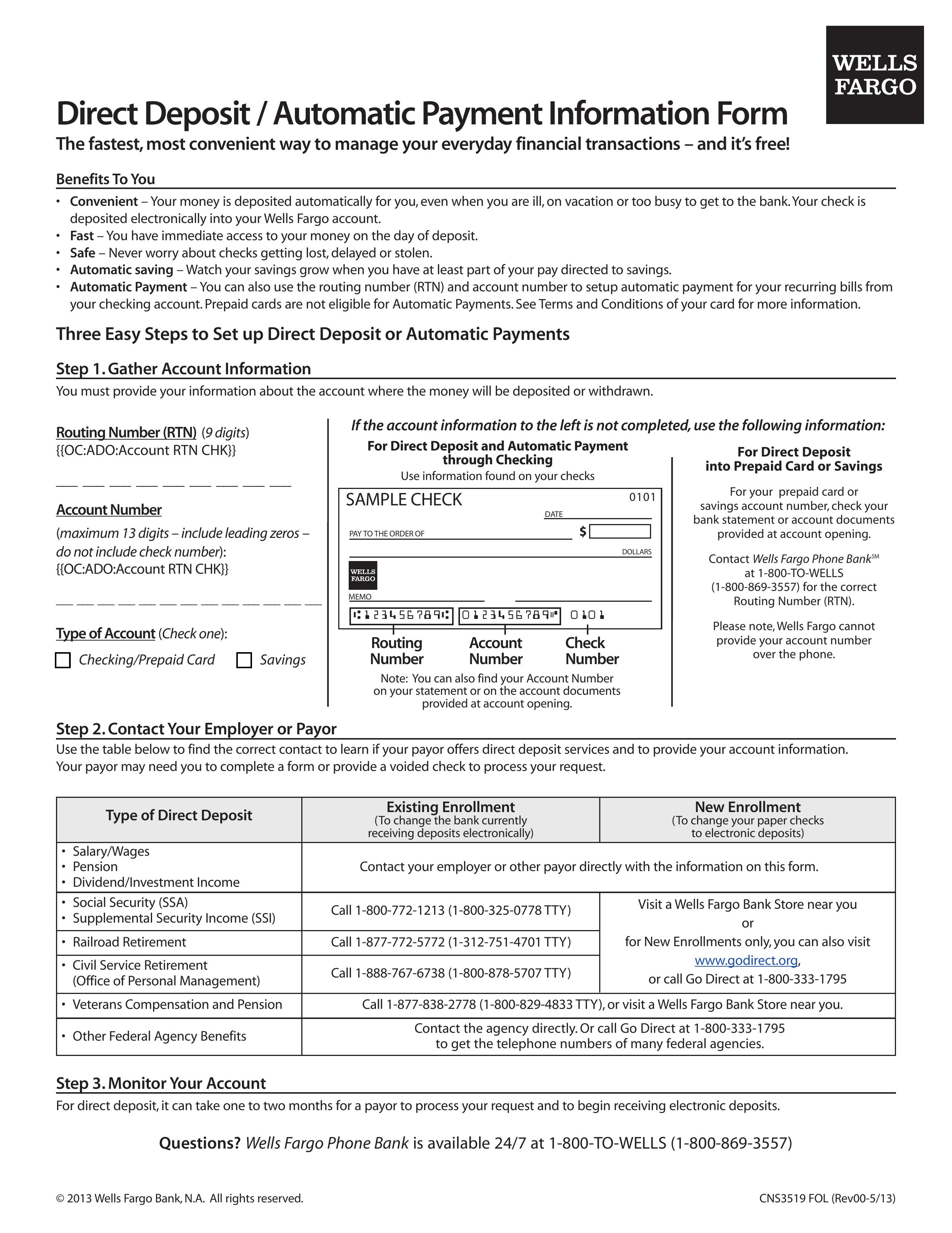 Free Wells Fargo Direct Deposit Form Pdf Eforms Free