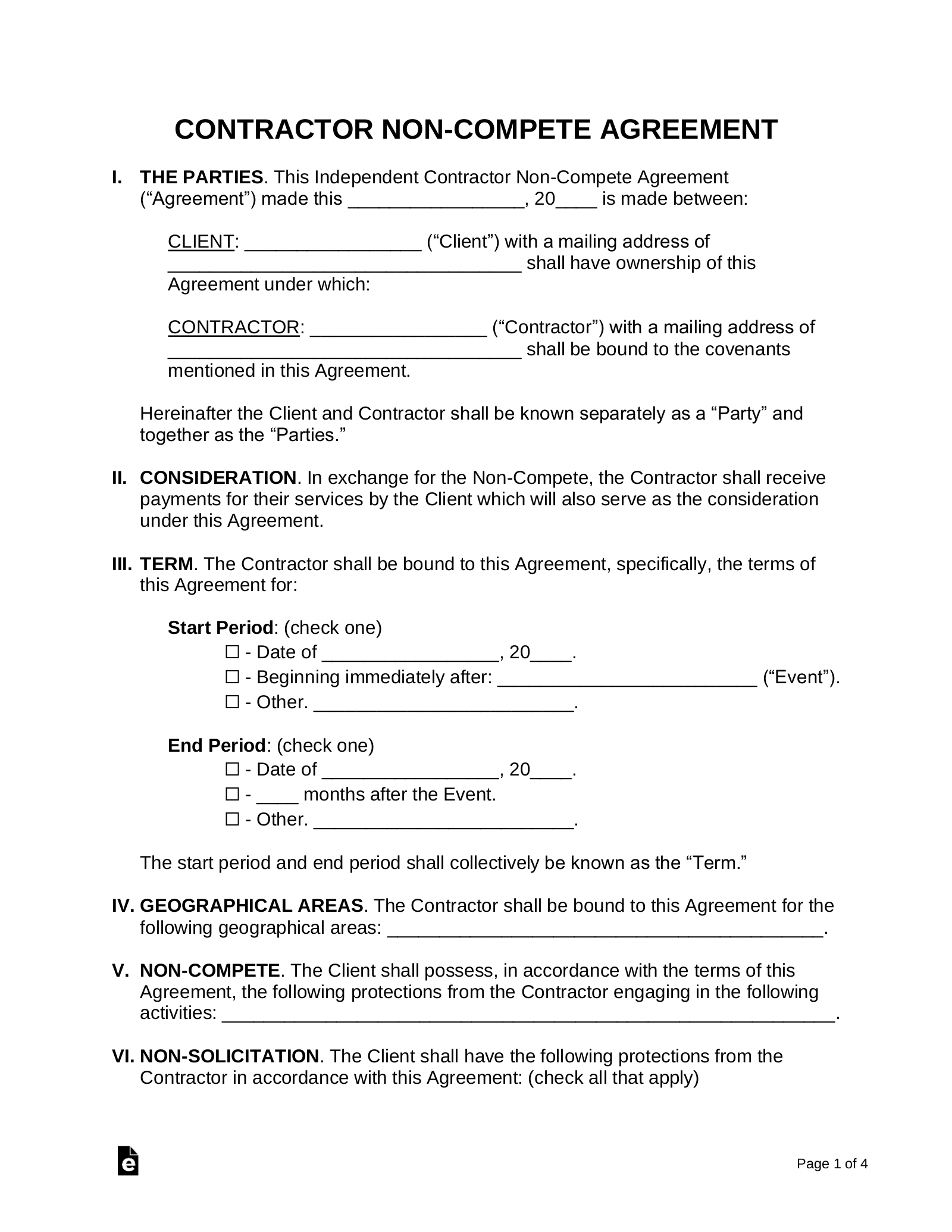 Independent Contractor Non Compete Agreement Template
