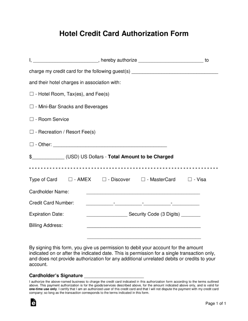 free hotel credit card authorization forms