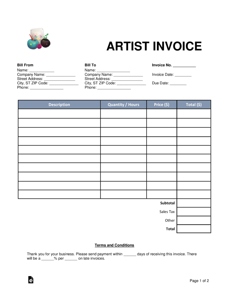 Free Artist Invoice Template Word PDF EForms Free Fillable - Invoice template images