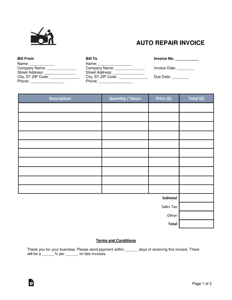 Free Auto Body (Mechanic) Invoice Template   PDF | Word | EForms U2013 Free  Fillable Forms  Auto Shop Invoice Template