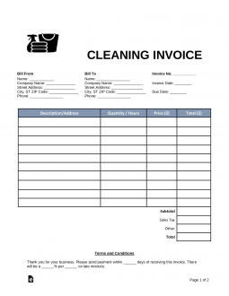 house cleaning invoice template  Free Cleaning (Housekeeping) Invoice Template - Word | PDF | eForms ...