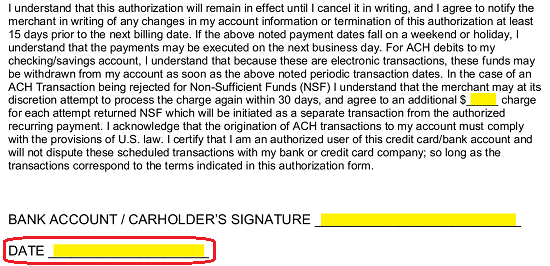 Free Credit Card Ach Authorization Forms Pdf Word Eforms