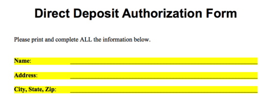Direct Deposit Authorization Form Name Address