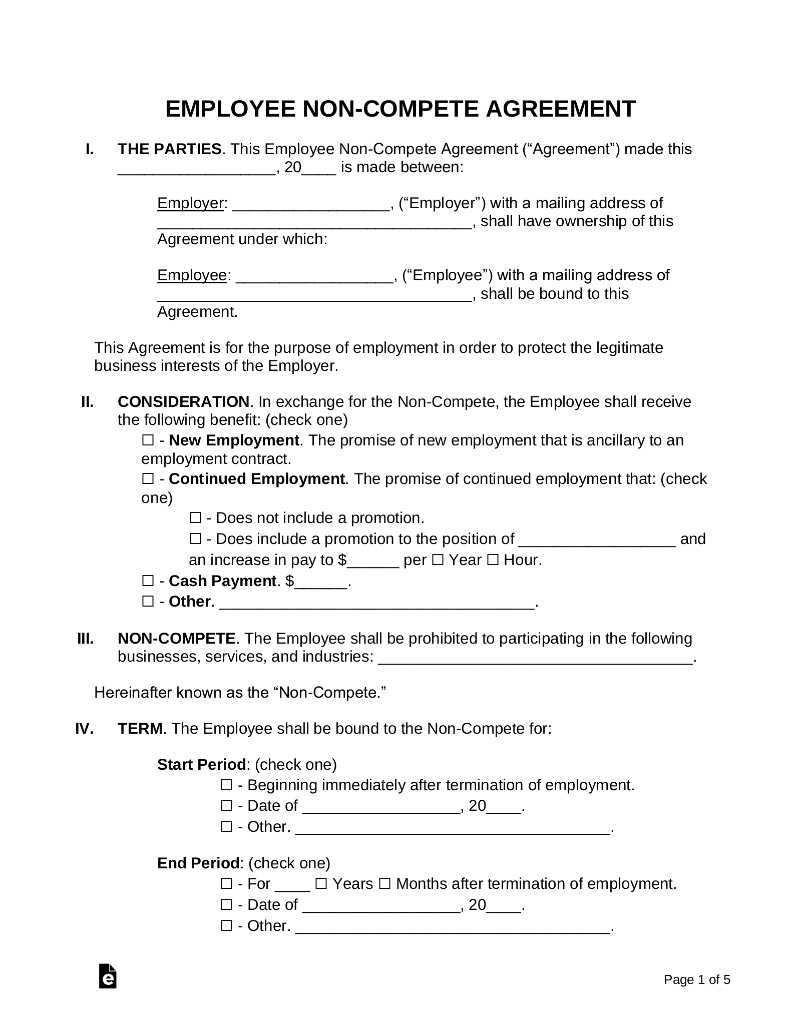Employee Non Compete Agreement Template Eforms Free