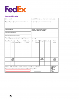 Free FedEx Commercial Invoice Template PDF EForms Free - Commercial invoice fedex template