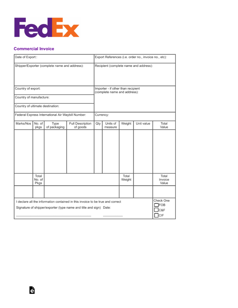 Free FedEx Commercial Invoice Template PDF – Commerical Invoice Template