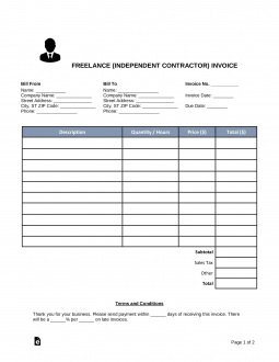 invoice template for independent contractor  Free Freelance (Independent Contractor) Invoice Template - Word ...
