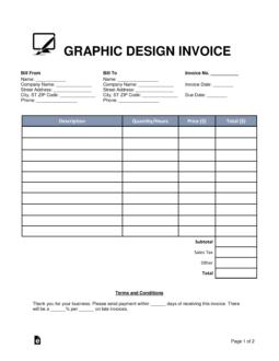 graphic design invoice template pdf  Free Graphic Design Invoice Template - Word   PDF   eForms – Free ...