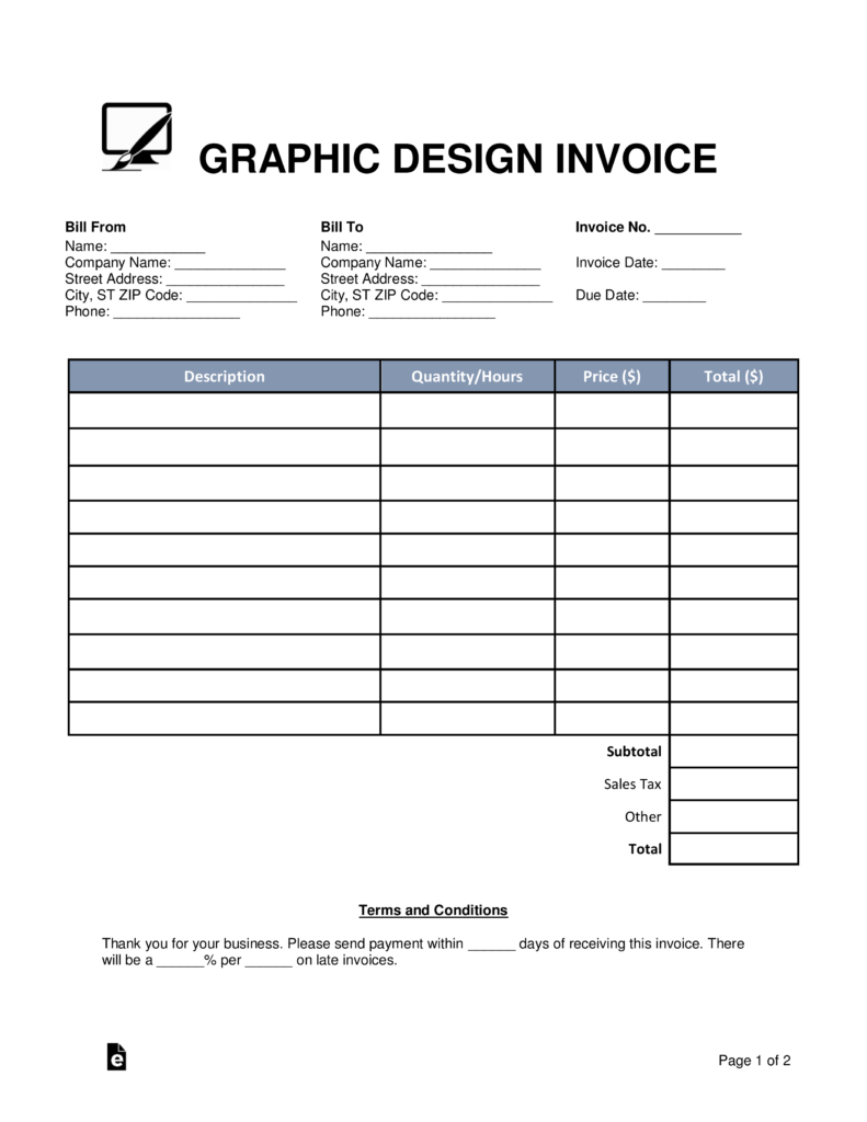 graphic design invoice template word pdf eforms graphic design invoice template word pdf fillable forms