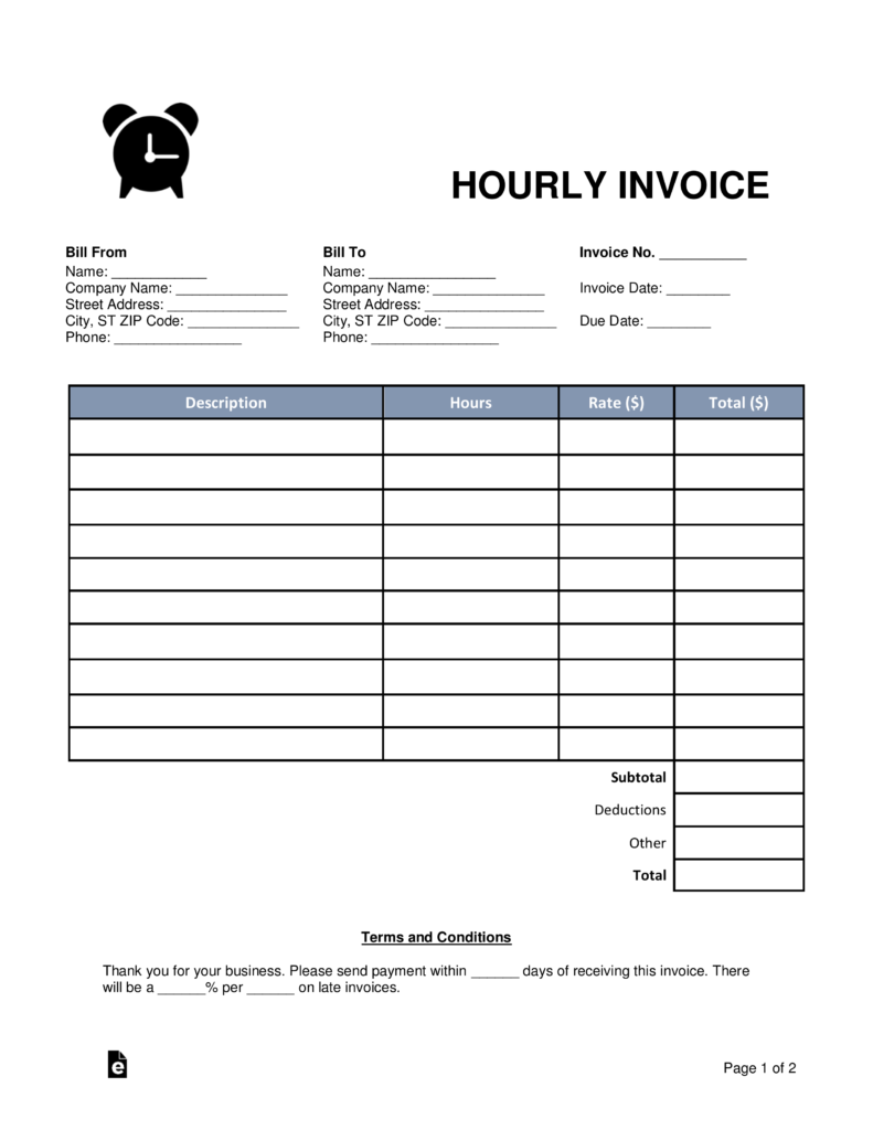 contractor hourly invoice template  Free Hourly Invoice Template - Word | PDF | eForms – Free Fillable Forms