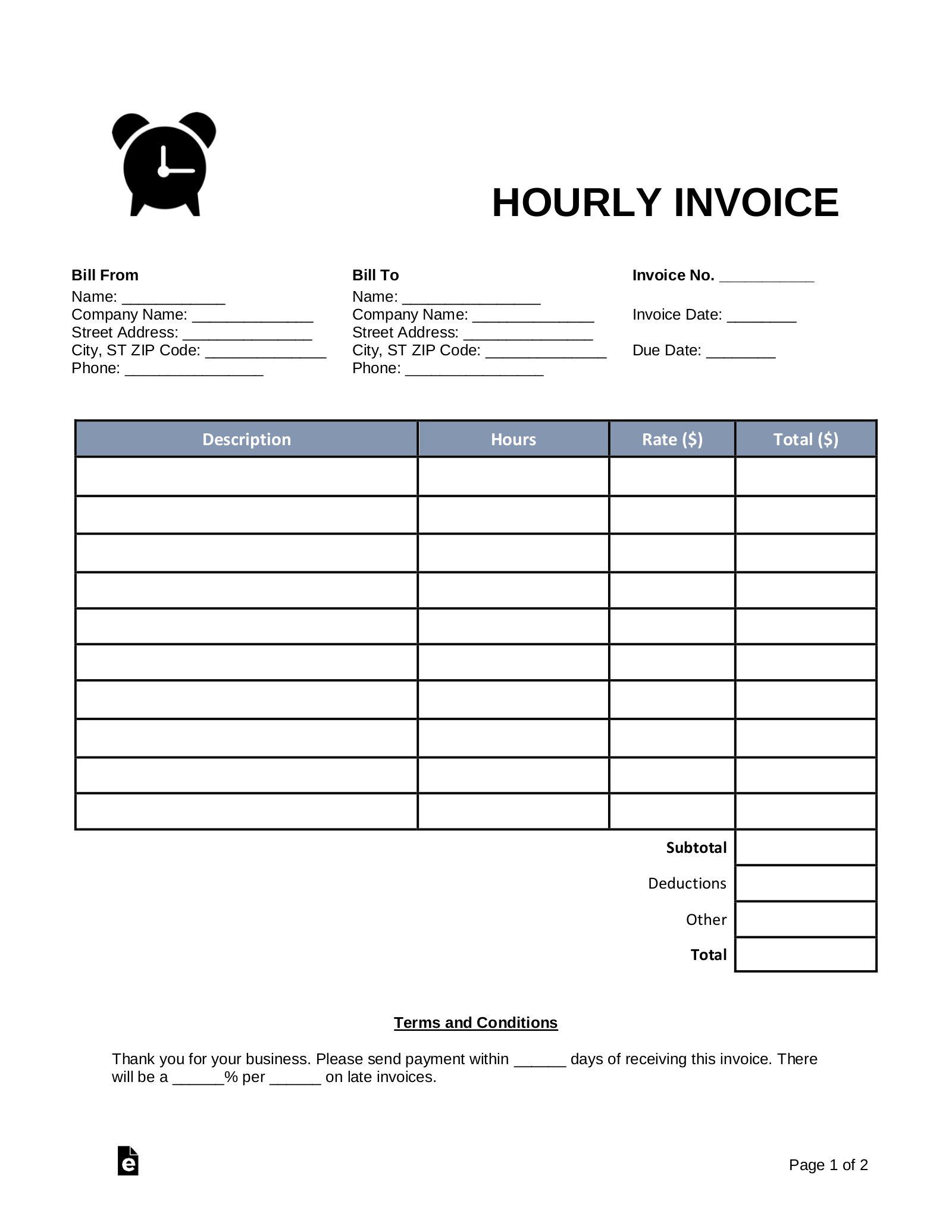 hourly-invoice-template  Form Examples on