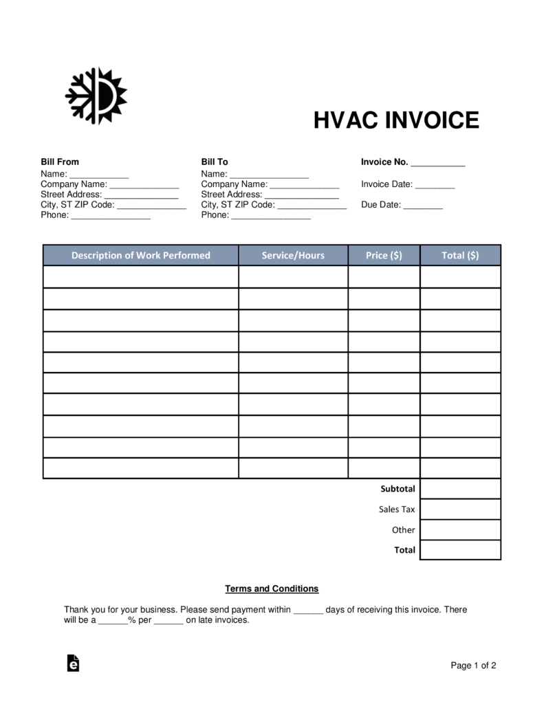 Free HVAC Invoice Template   Word | PDF | EForms U2013 Free Fillable Forms  Blank Service Invoice Template