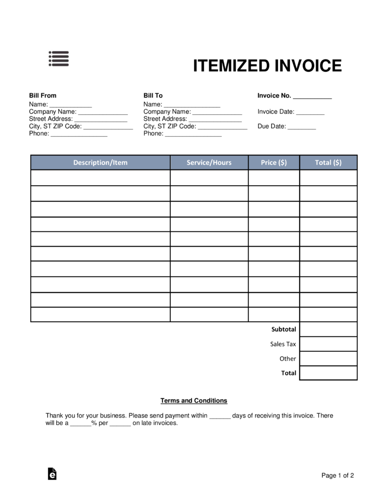 Free Itemized Invoice Template Word Pdf Eforms Free Fillable
