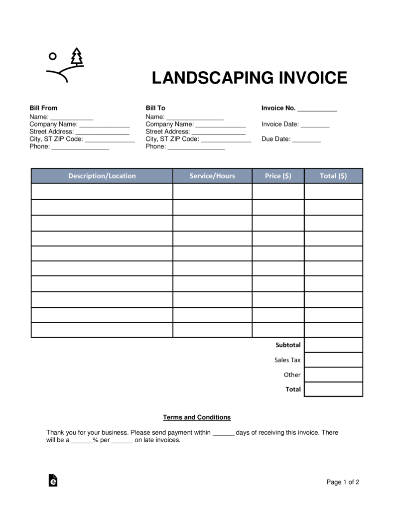 landscaping invoice template word pdf eforms landscaping invoice template word pdf fillable forms