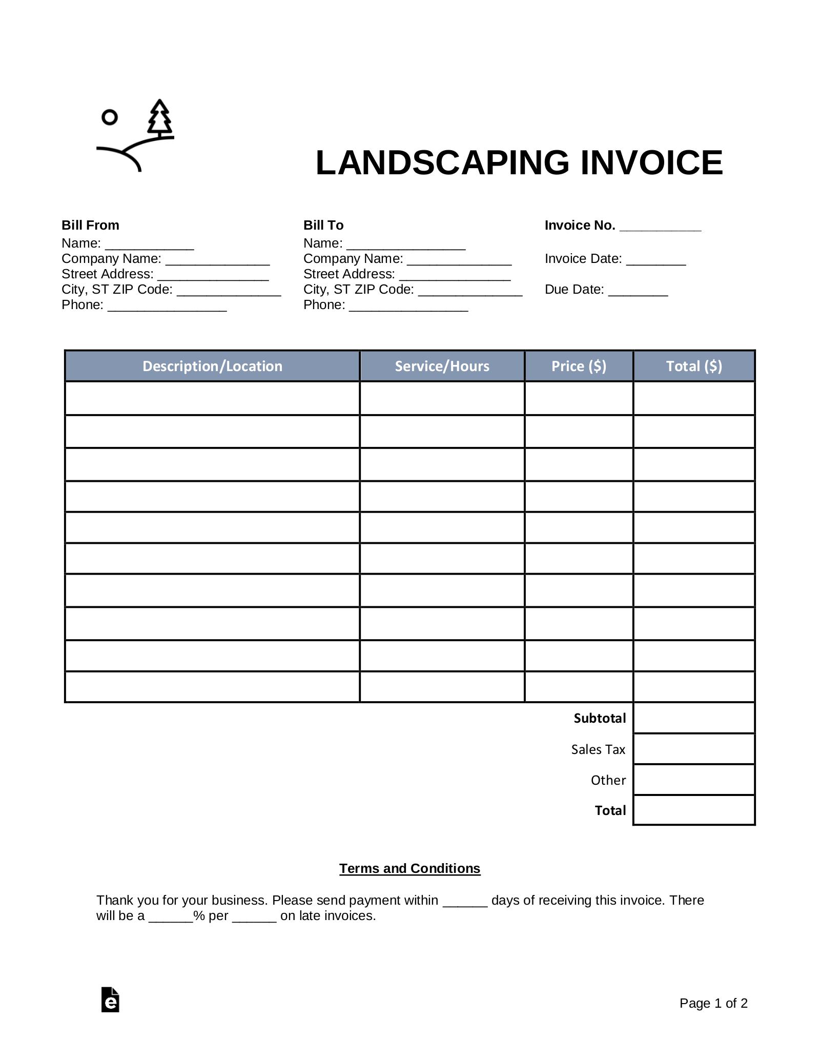 free landscaping invoice template word pdf eforms. Black Bedroom Furniture Sets. Home Design Ideas