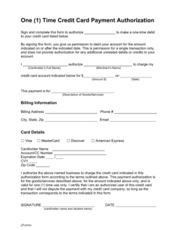 Free One (1) Time Credit Card Payment Authorization Form - PDF ...