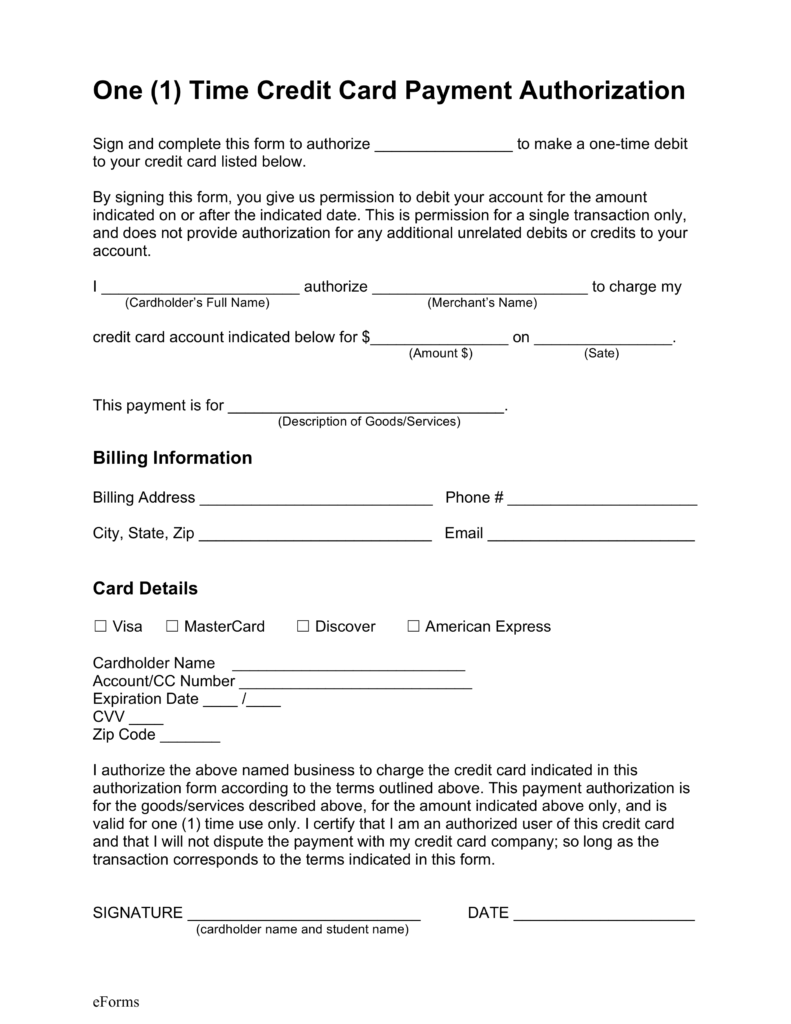 Free One (1) Time Credit Card Payment Authorization Form   PDF | Word |  EForms U2013 Free Fillable Forms