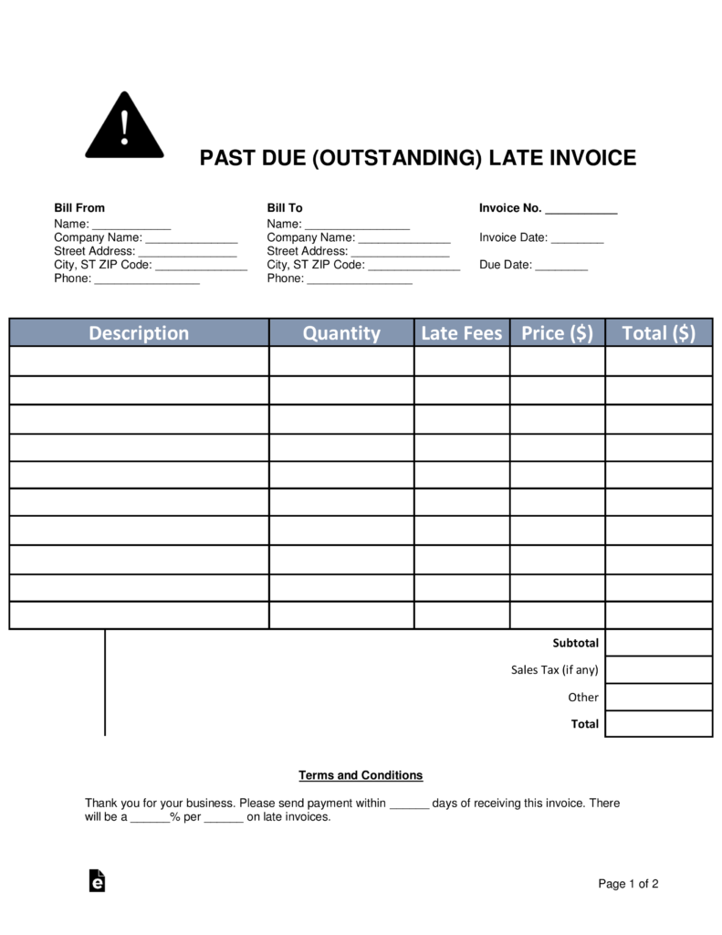 Free Past Due (Outstanding) Late Invoice - Word | PDF | eForms ...