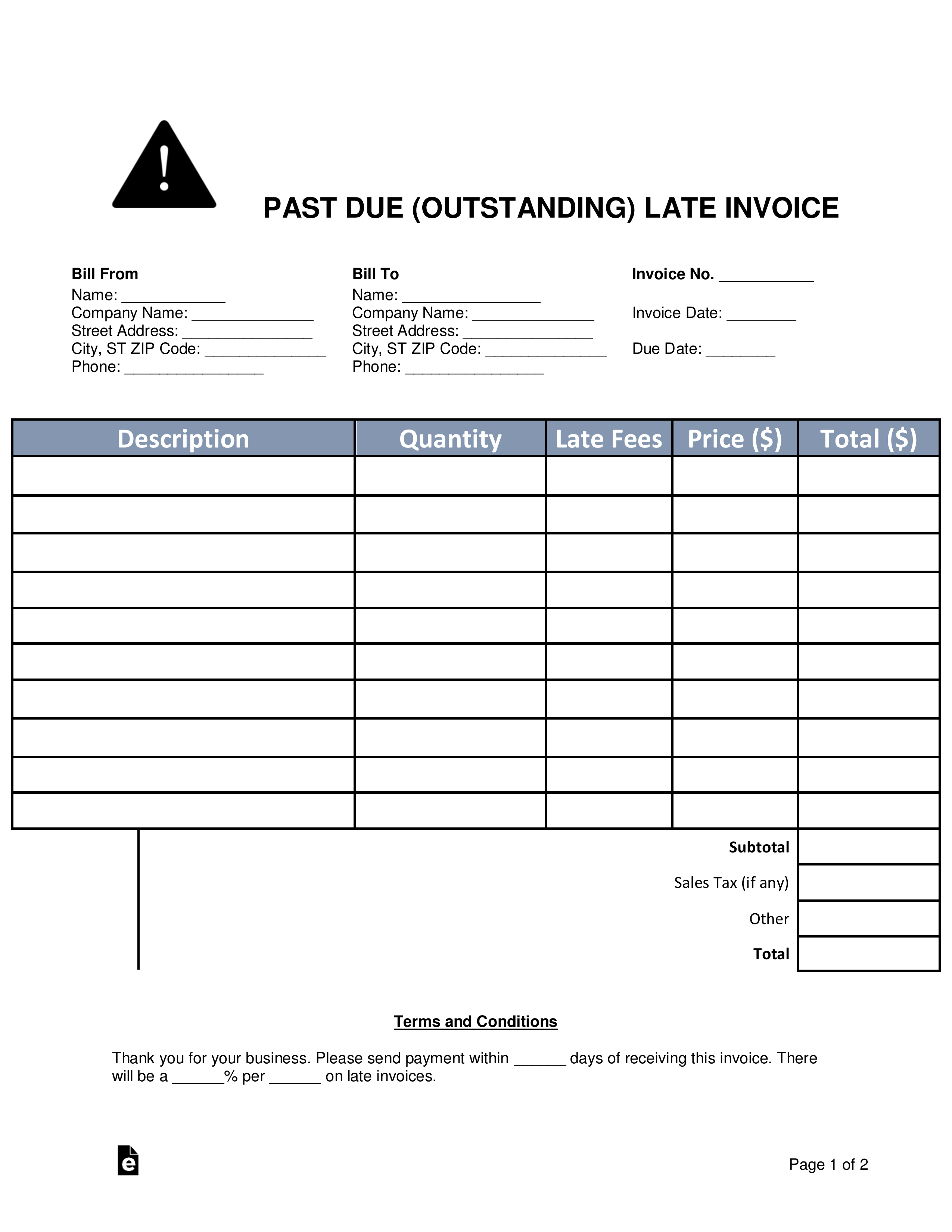 free past due  outstanding  late invoice