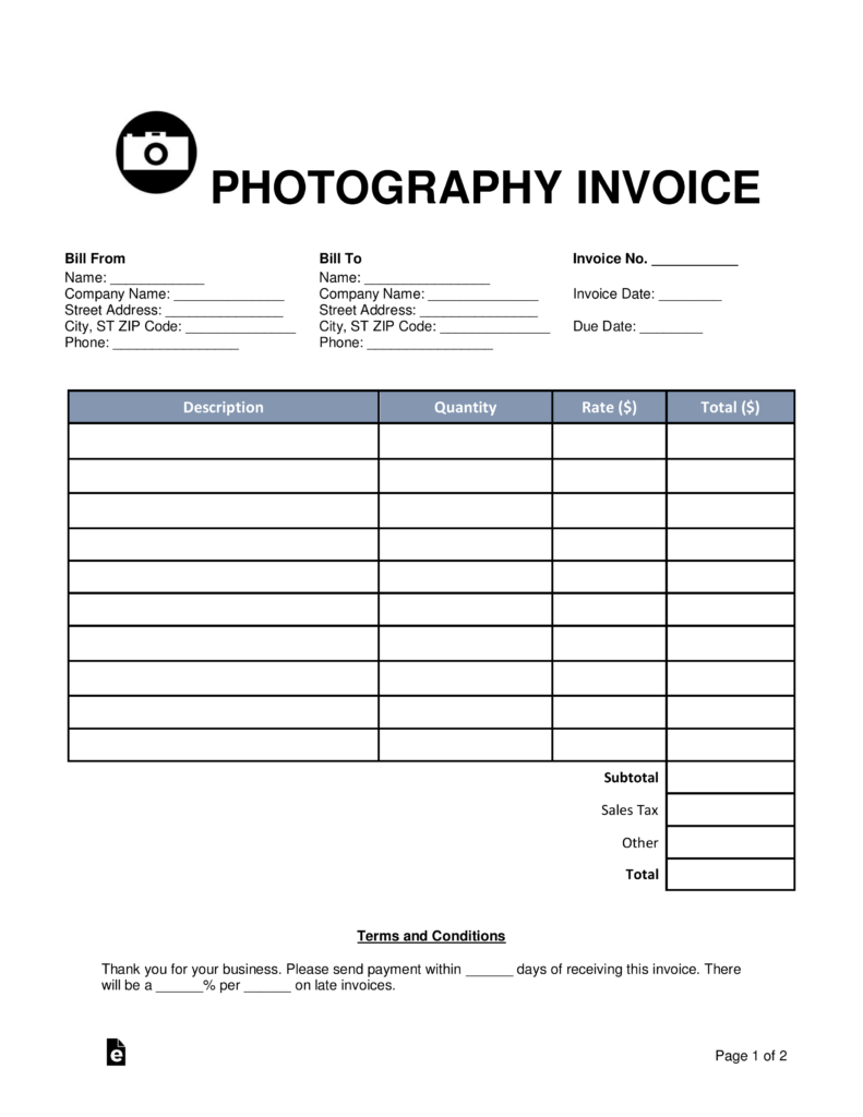 Free Photography Invoice Template Word Pdf Eforms Free