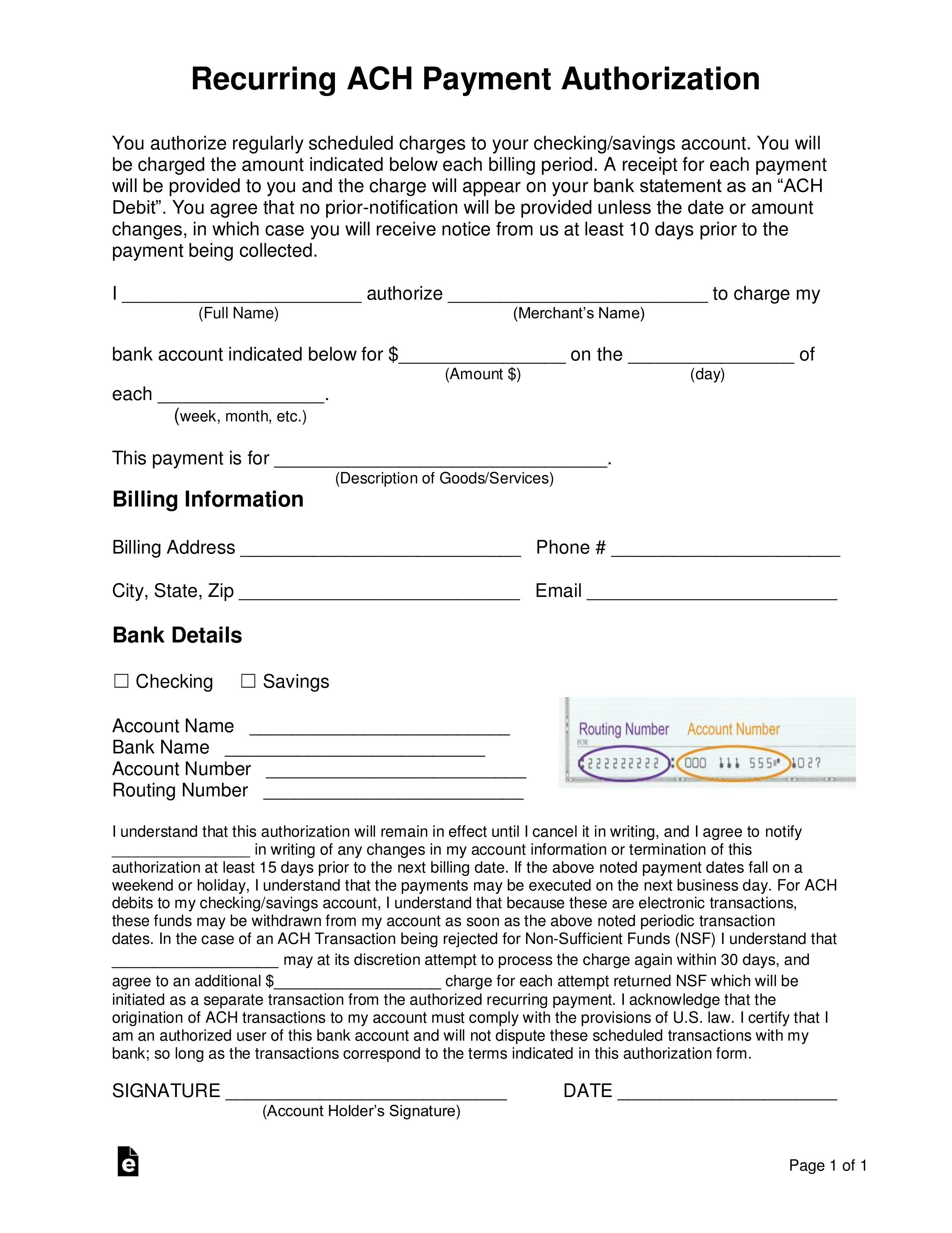 Free Recurring Ach Payment Authorization Form Word Pdf
