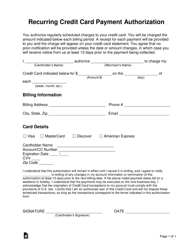 credit card billing authorization form template invoice