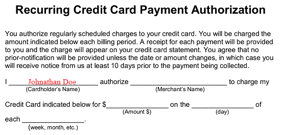 Free Recurring Credit Card Authorization Form Word Pdf Eforms