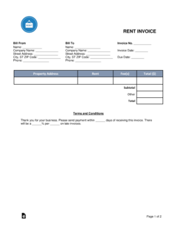 Free Rental Monthly Rent Invoice Template Word PDF EForms - Invoice for rent payment