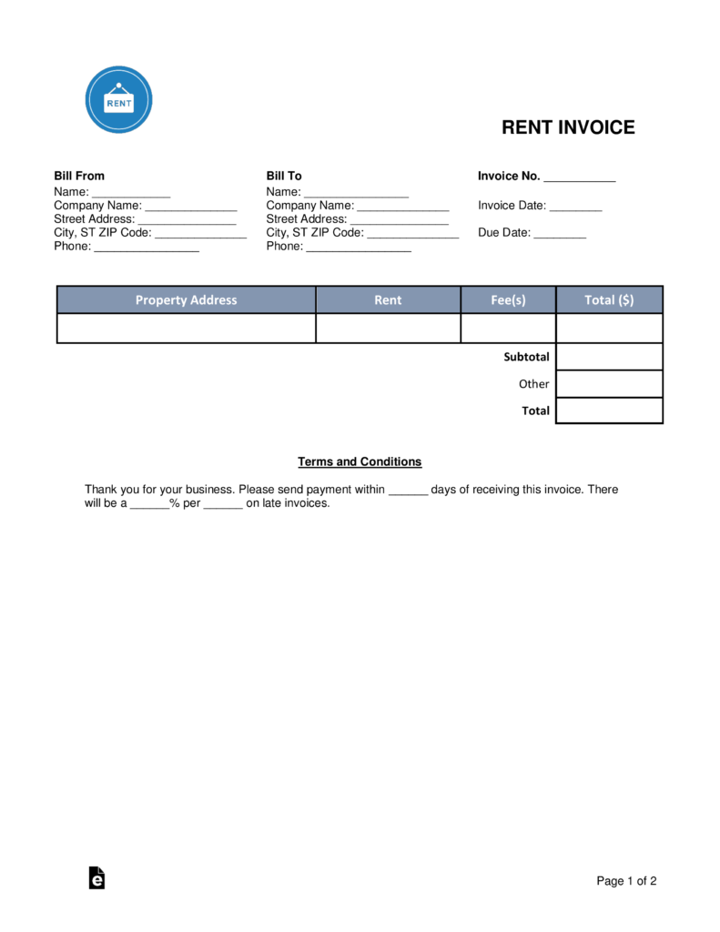 free rental (monthly rent) invoice template - pdf | word | eforms, Invoice examples