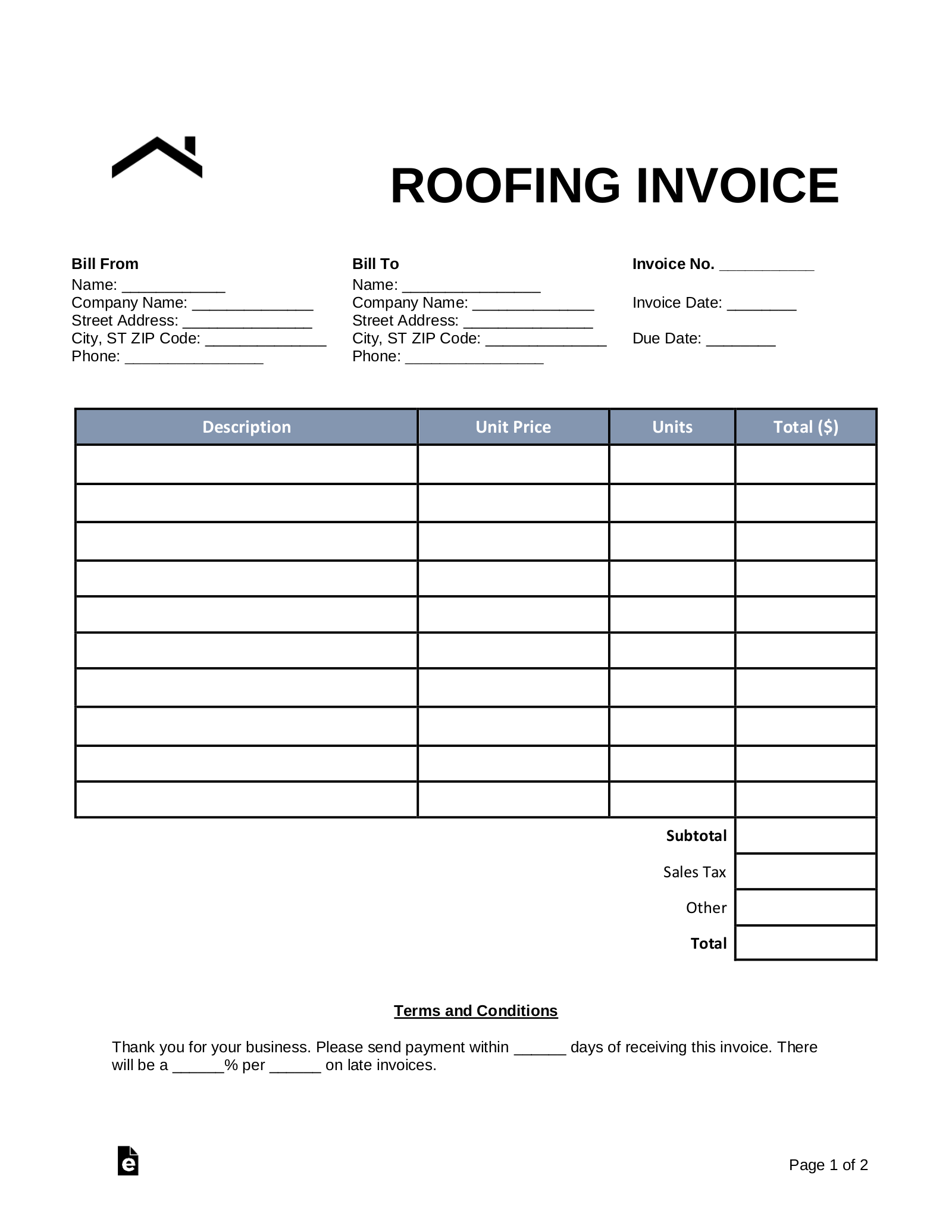 Free Roofing Invoice Template Word Pdf Eforms Free Fillable Forms