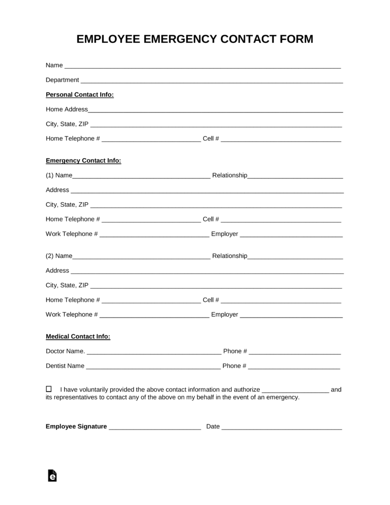 Free employee emergency contact form pdf word eforms for Next of kin form template uk