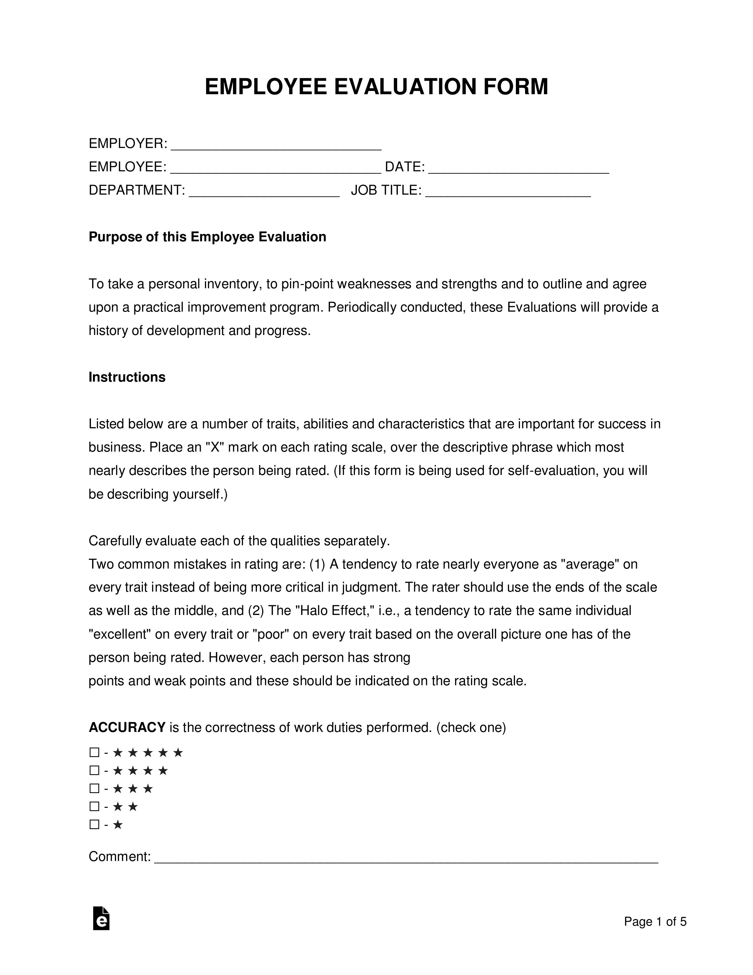 Free Employee Evaluation Form Pdf Word Eforms