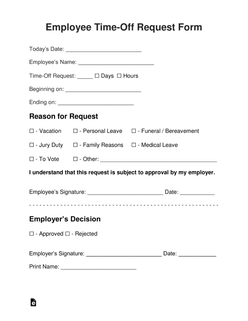 letter asking for time off from work employee time vacation request form eforms free 27991 | Employee Time Off Request Form 791x1024